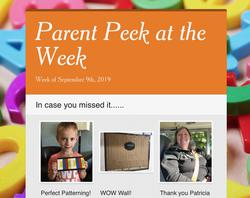 Parent Peek at the Week - Sept. 9th