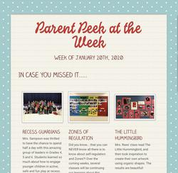 Parent Peek at the Wee, - January 20th