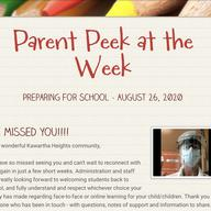 Parent Peek at the Week - August 26th