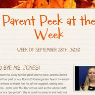 Parent Peek at the Week - September 28th