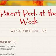 Parent Peek at the Week - October 12th