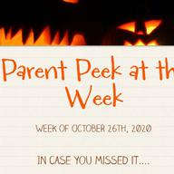 Parent Peek at the Week - October 26th
