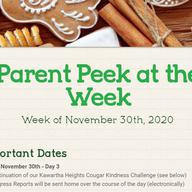 Parent Peek at the Week - November 30th