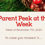 Parent Peek at the Week - December 7th