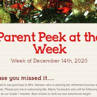 Parent Peek at the Week - December 14th