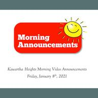 Morning Video Announcements - January 8th