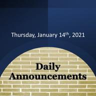 Morning Video Announcements - January 14th