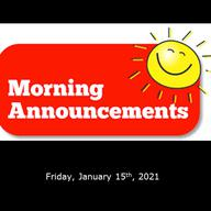 Morning Video Announcements - January 15th