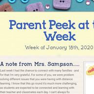 Parent Peek at the Week - January 18th