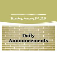 Morning Video Announcements - January 21st