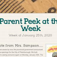 Parent Peek at the Week - January 25th
